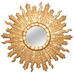 French Vintage Midcentury Giltwood Convex Sunburst Mirror with Undulating Rays