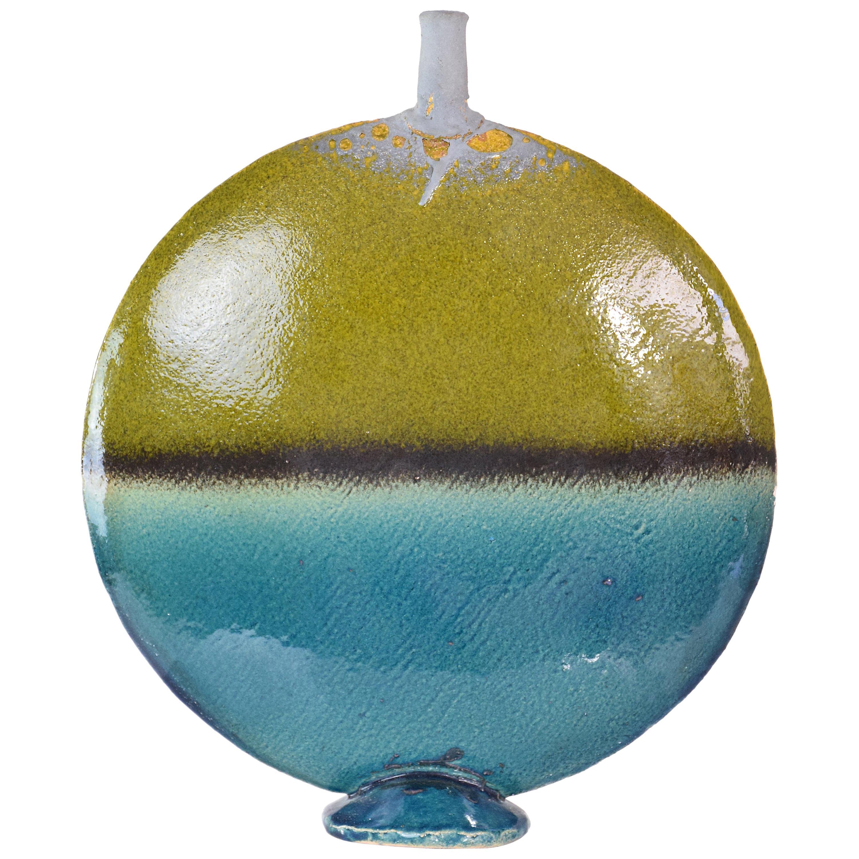 French Vintage Midcentury Gold Leaf Ceramic Vase, 1970s