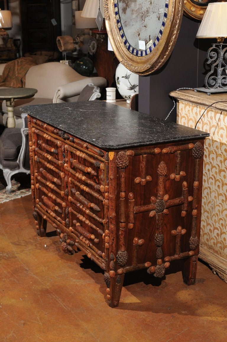 French Vintage Midcentury Three-Drawer Chest with Pinecone and Walnut Motifs For Sale 3