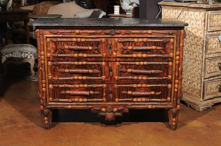 French Vintage Midcentury Three-Drawer Chest with Pinecone and Walnut Motifs For Sale 5