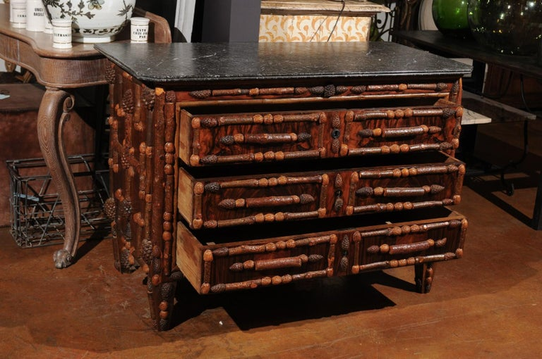 Marble French Vintage Midcentury Three-Drawer Chest with Pinecone and Walnut Motifs For Sale