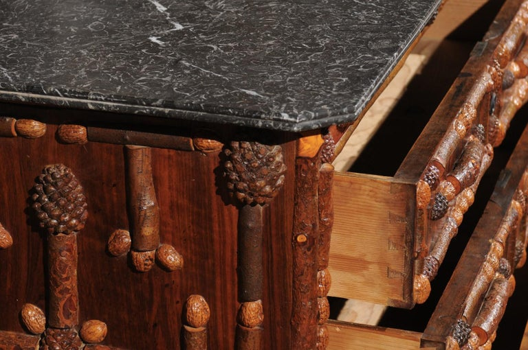 French Vintage Midcentury Three-Drawer Chest with Pinecone and Walnut Motifs For Sale 1