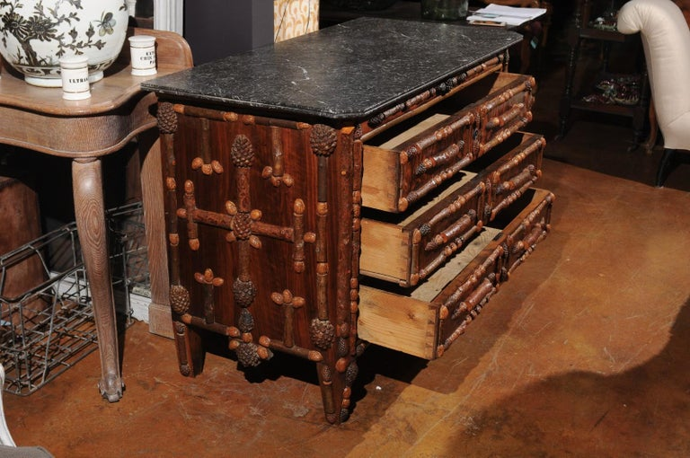 French Vintage Midcentury Three-Drawer Chest with Pinecone and Walnut Motifs For Sale 2
