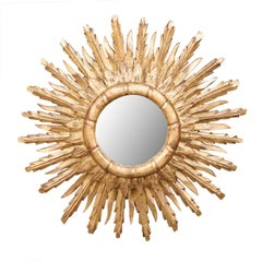 French Vintage Midcentury Two-Layered Giltwood Sunburst Mirror, circa 1950