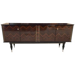 French Vintage Modern Macassar Ebony 'Zigzag' Buffet/Sideboard