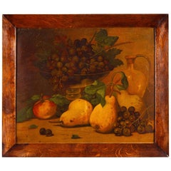 French Vintage Oak Frame with Still Life, 1920s