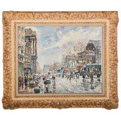 French Vintage Oil on Canvas Paris Scene Fernand Laval