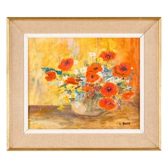 French Vintage Oil on Canvass of Poppies in a Vase, 20th Century