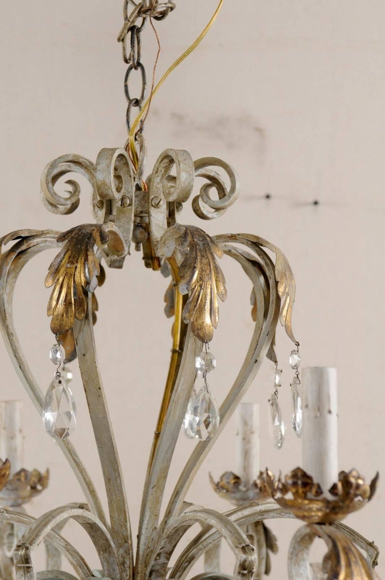 French vintage painted iron and crystal chandelier with acanthus 20th century french vintage painted iron and crystal chandelier with acanthus leaf motifs for sale aloadofball Images