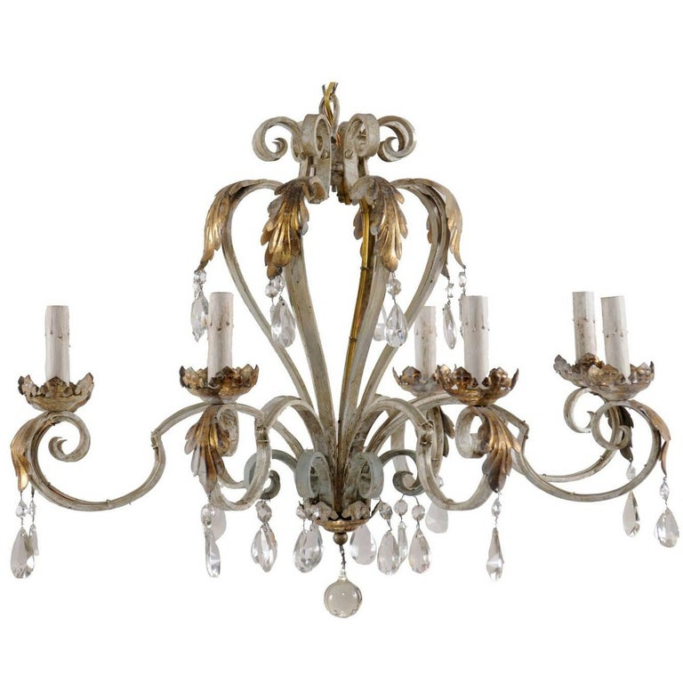 French Vintage Painted Iron and Crystal Chandelier with Acanthus Leaf Motifs