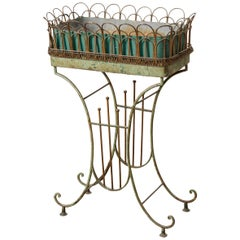 French Vintage Painted Metal Plant Stand