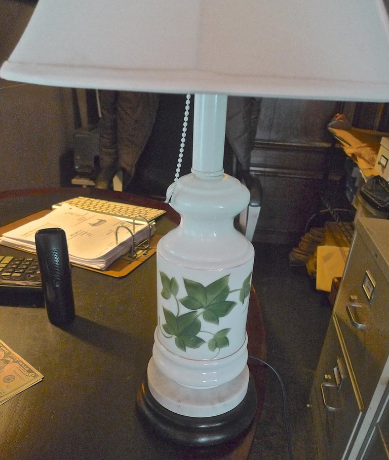 French vintage painted milk glass table lamp mounted on a wood and marble base.