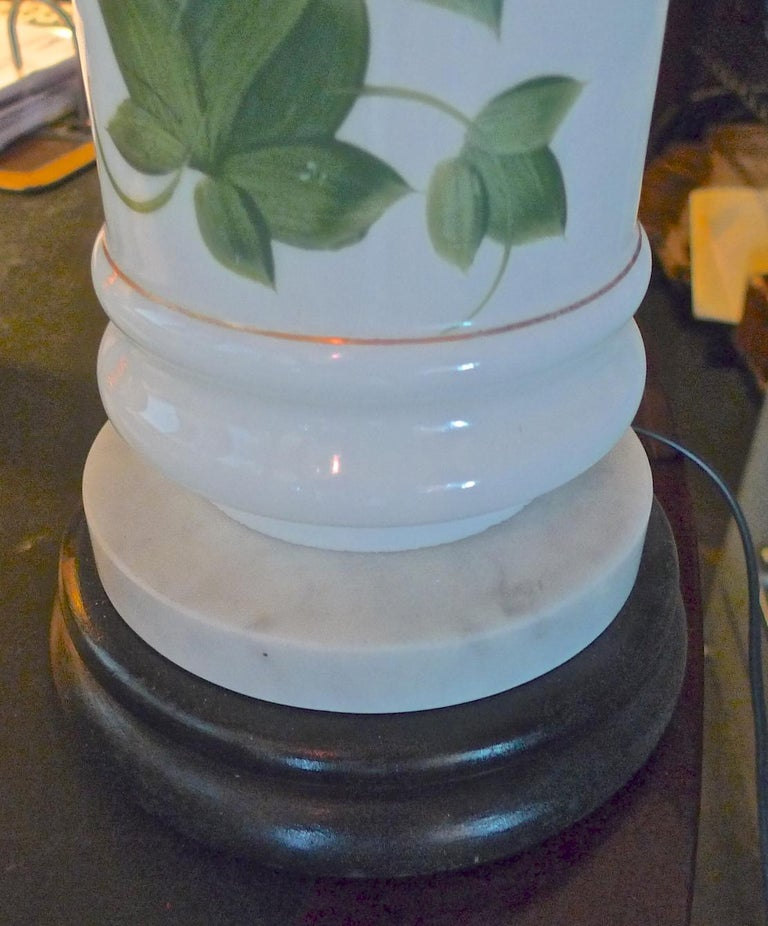 French Vintage Painted Milk Glass Table Lamp Mounted on a Wood and Marble Base In Good Condition For Sale In Santa Monica, CA