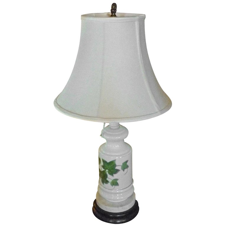 French Vintage Painted Milk Glass Table Lamp Mounted on a Wood and Marble Base For Sale