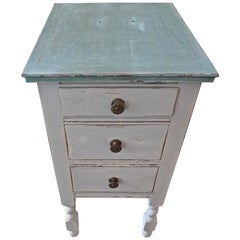 French Vintage Painted Pine 3-Drawer Nightstand