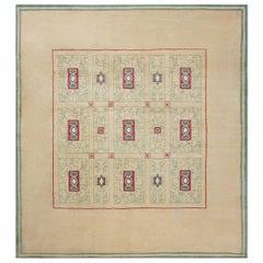 French Vintage Paule Leleu Handmade Wool Rug in Beige, Burgundy and Green