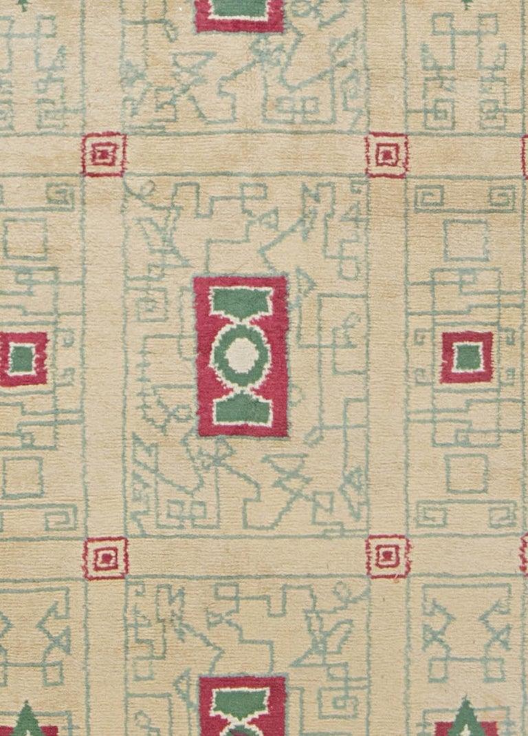 French Vintage Paule Leleu Handmade Wool Rug in Beige, Burgundy & Green  Size: 10'0