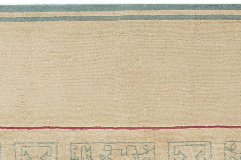 20th Century French Vintage Paule Leleu Handmade Wool Rug in Beige, Burgundy & Green  For Sale