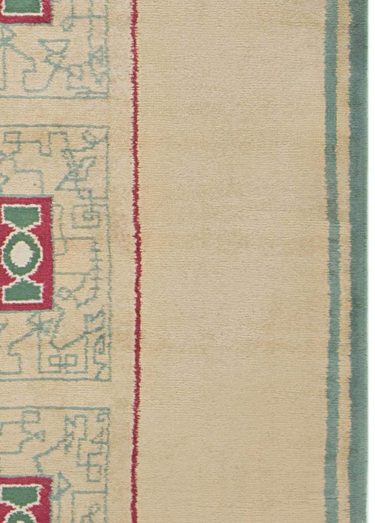French Vintage Paule Leleu Handmade Wool Rug in Beige, Burgundy & Green  For Sale 1