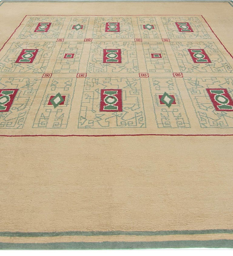 Hand-Knotted French Vintage Paule Leleu Handmade Wool Rug in Beige, Burgundy & Green  For Sale