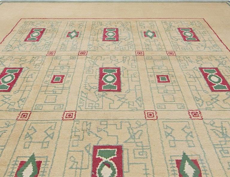 Arts and Crafts French Vintage Paule Leleu Handmade Wool Rug in Beige, Burgundy & Green  For Sale