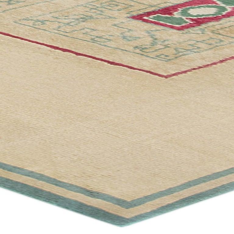 French Vintage Paule Leleu Handmade Wool Rug in Beige, Burgundy & Green  For Sale 2
