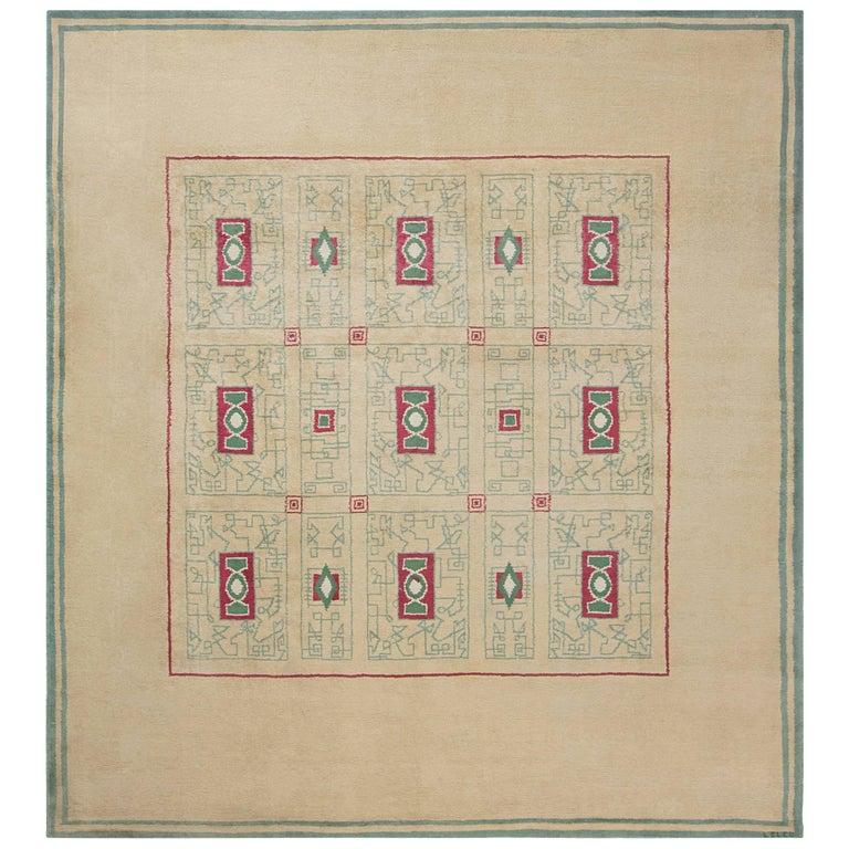 French Vintage Paule Leleu Handmade Wool Rug in Beige, Burgundy & Green  For Sale