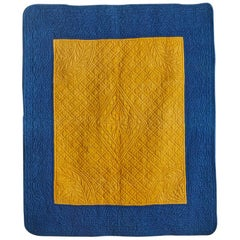 French Vintage Quilt in Indigo and Saffron Yellow from Early 19th Century