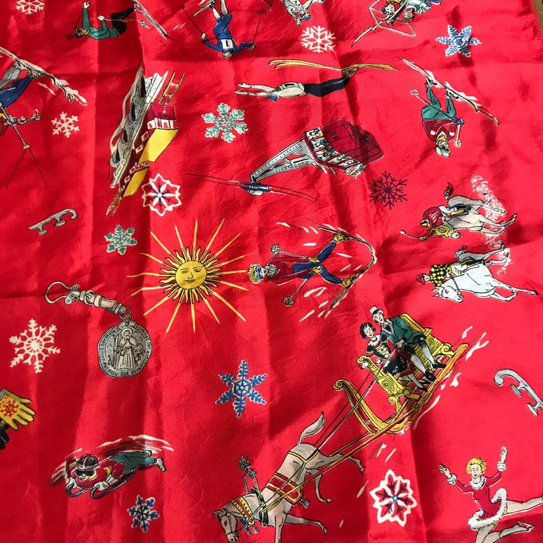 French Vintage Red Silk Scarf Showing Winter Sports..skiing ,skating ,sledding For Sale 6
