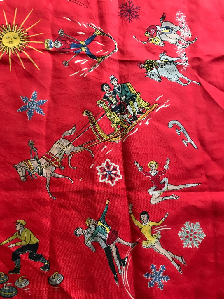 French Vintage Red Silk Scarf Showing Winter Sports..skiing ,skating ,sledding In Good Condition For Sale In Antwerp, BE
