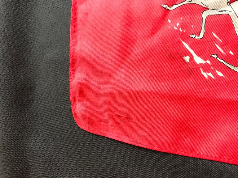 French Vintage Red Silk Scarf Showing Winter Sports..skiing ,skating ,sledding For Sale 1