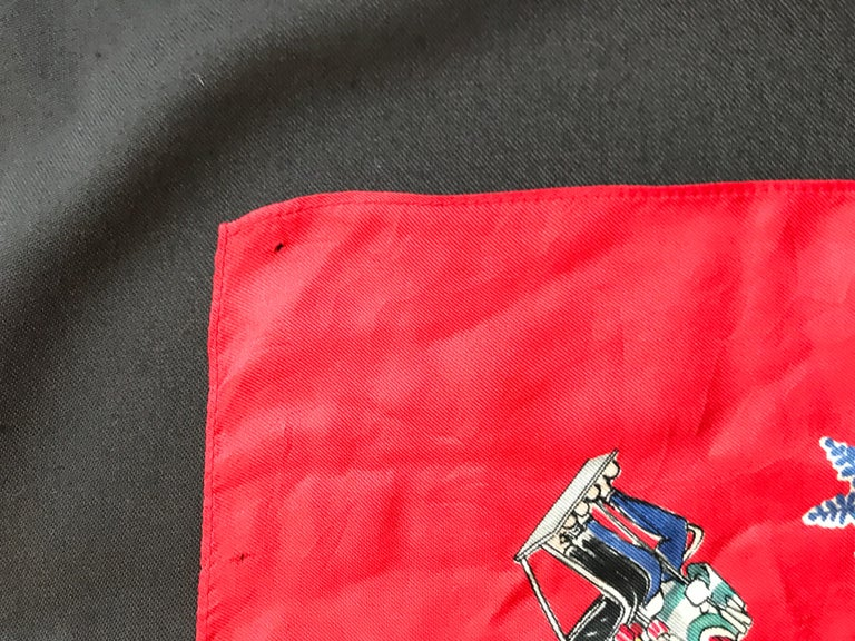 French Vintage Red Silk Scarf Showing Winter Sports..skiing ,skating ,sledding For Sale 2