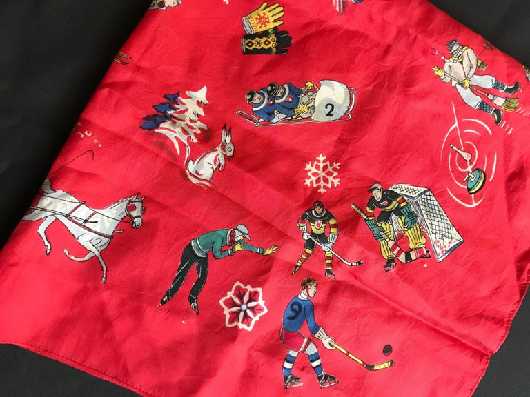 French Vintage Red Silk Scarf Showing Winter Sports..skiing ,skating ,sledding For Sale 3