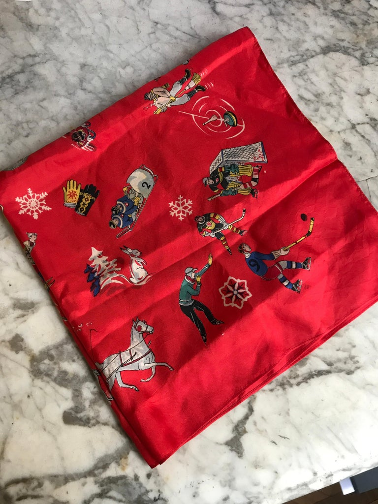 French Vintage Red Silk Scarf Showing Winter Sports..skiing ,skating ,sledding For Sale 4