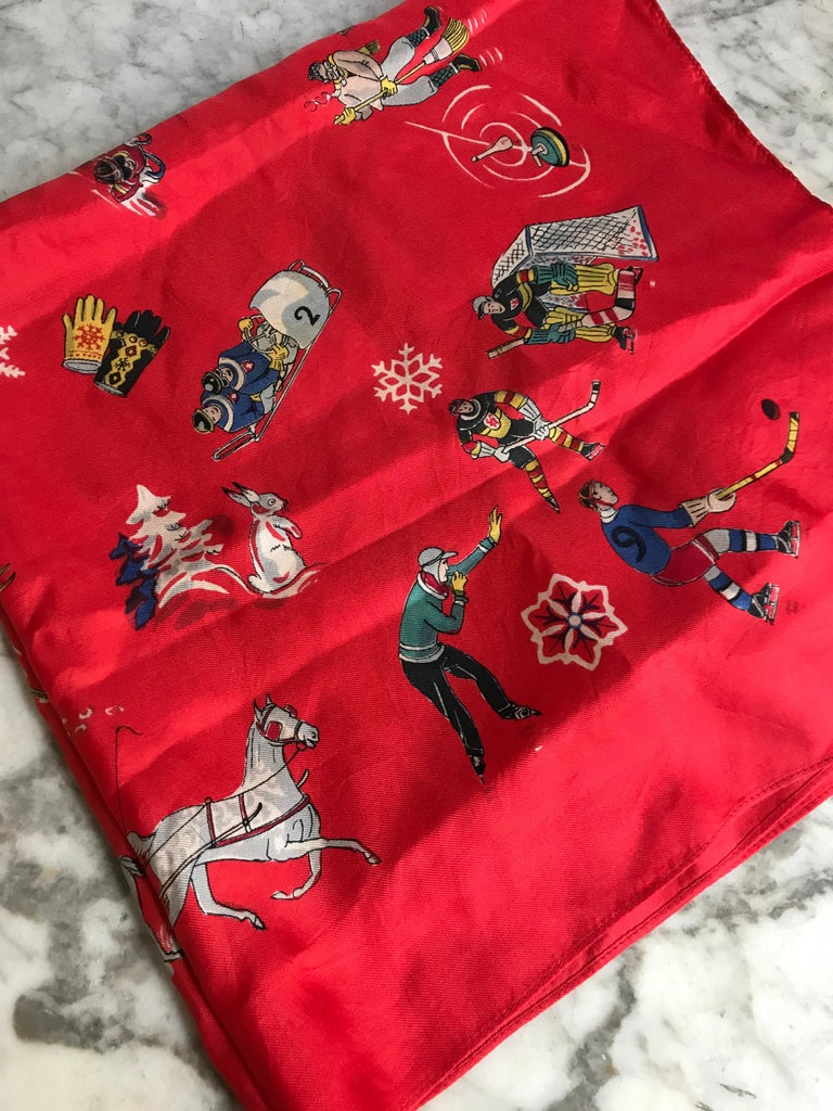 French Vintage Red Silk Scarf Showing Winter Sports..skiing ,skating ,sledding For Sale 5