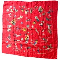 French Vintage Red Silk Scarf Showing Winter Sports..skiing ,skating ,sledding