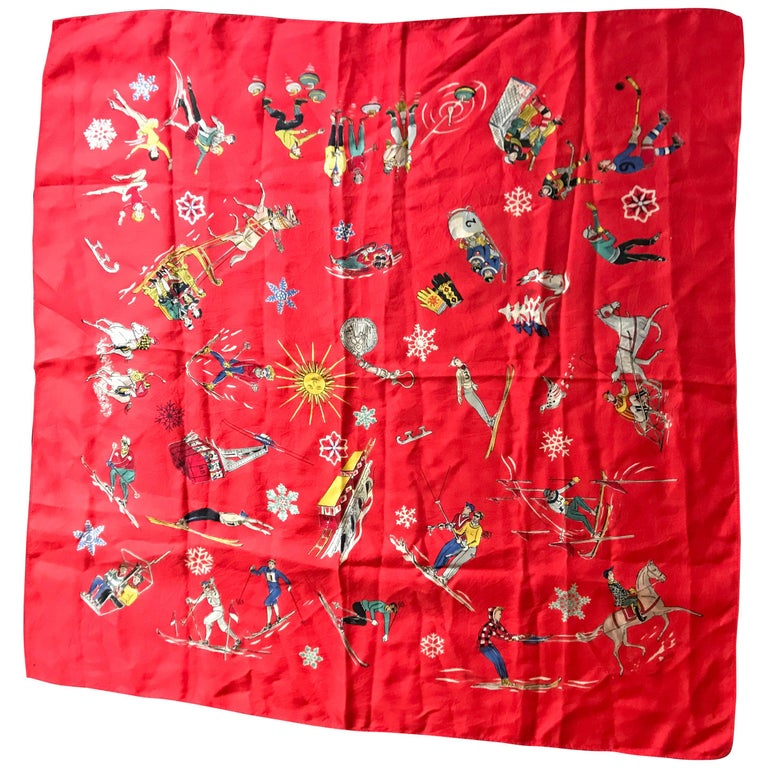 French Vintage Red Silk Scarf Showing Winter Sports..skiing ,skating ,sledding For Sale