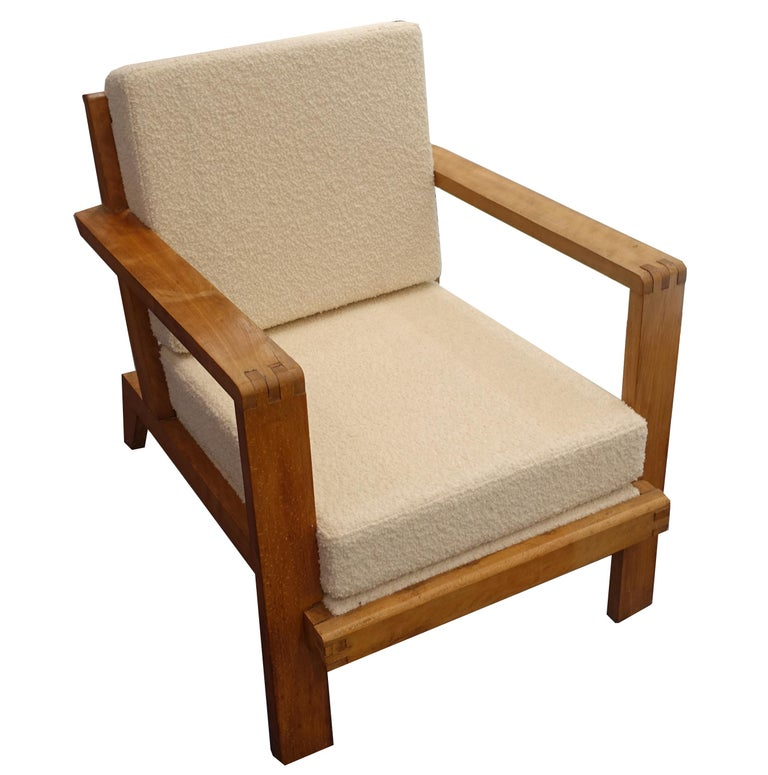 French Vintage, rare René Gabriel Armchair from Paris, France, circa 1940s with grid back and new cream bouclé upholstery.
