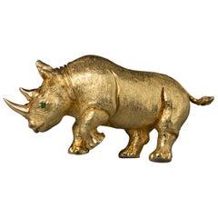 French Vintage Rhinoceros Gold Brooch