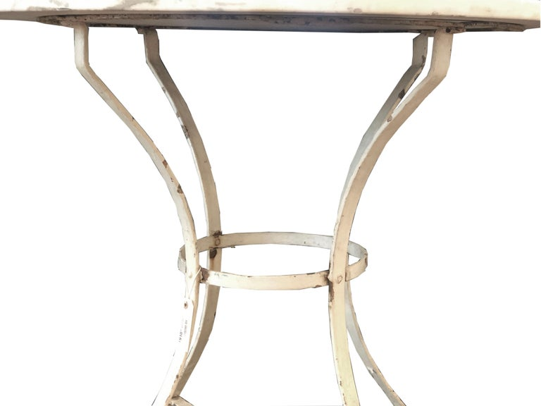 French Vintage Round Painted Bistro Kitchen Table with Marble Top In Fair Condition For Sale In Wichita, KS