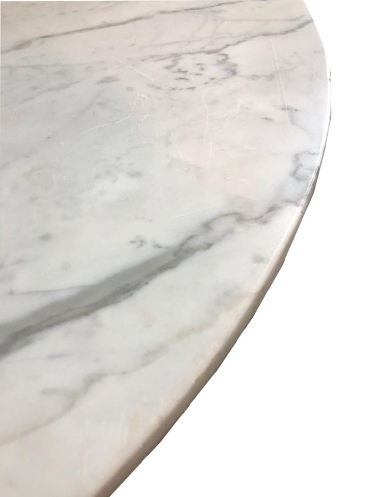 20th Century French Vintage Round Painted Bistro Kitchen Table with Marble Top For Sale