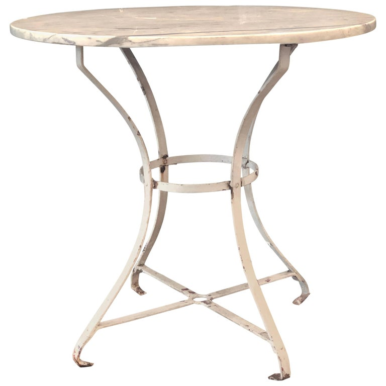 French Vintage Round Painted Bistro Kitchen Table with Marble Top For Sale