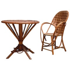French Vintage Round Rattan Cafe Table Set