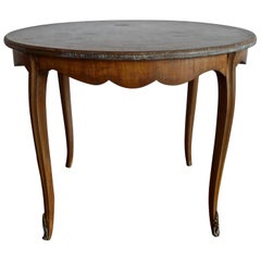 French Vintage Stained Hand Carved Walnut Round Coffee Table with Inlay Top