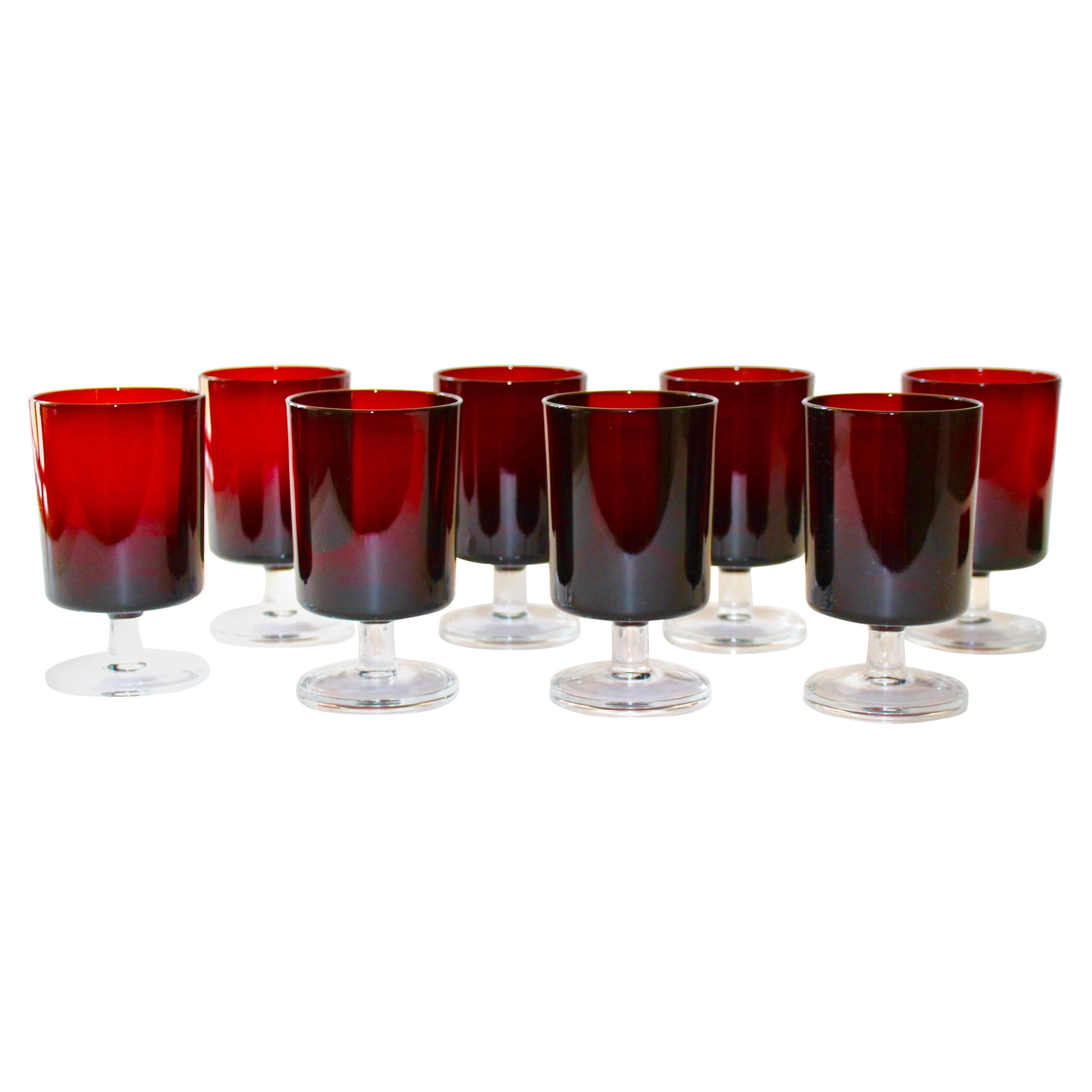 French Vintage Stemware Glasses in Ruby Red, Set of Eight, c. 1960s