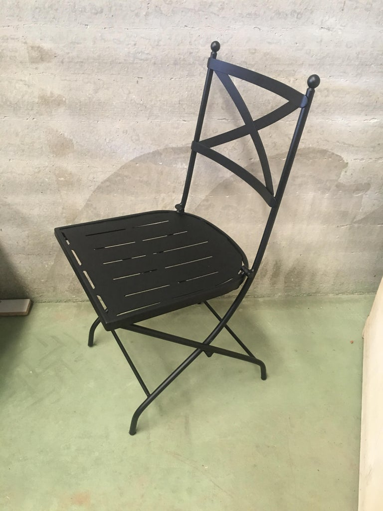 French Vintage Style Bistro Folding Iron Chair For Sale At