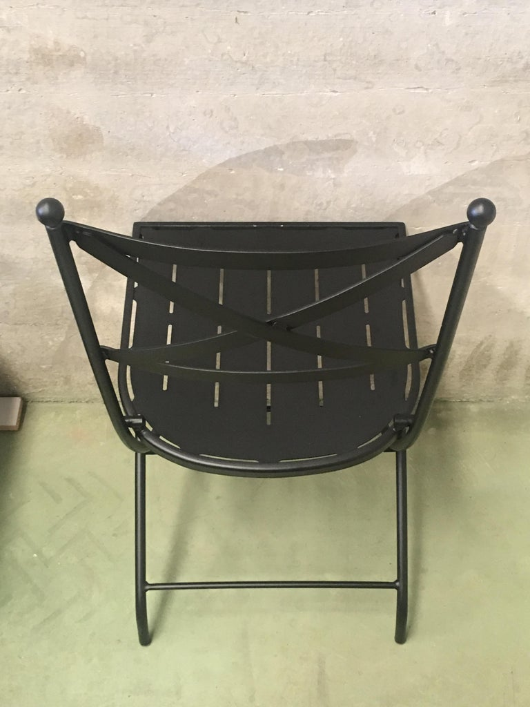 French Vintage Style Bistro Folding Iron Chair Indoor And