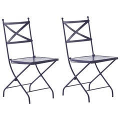 French Vintage Style Bistro Folding Iron Chair, Indoor & Outdoor