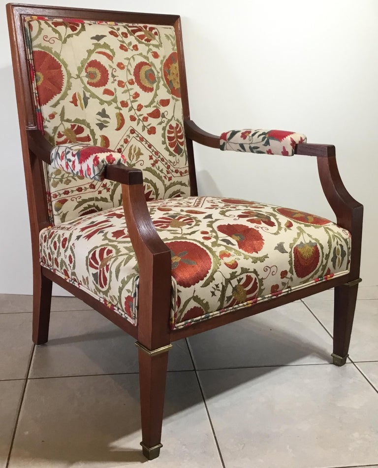 French Vintage Suzani Armchair For Sale at 1stdibs