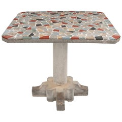 French Vintage Terrazzo and Concrete Pedestal Table